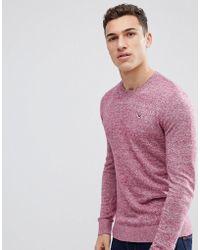 Hollister Billy Crew Neck Knit Sweater Seagull Logo In Purple