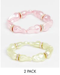 ASOS Pack Of 2 Stretch Bracelets With Coloured Pearl And Wrapped Stones - Multicolor