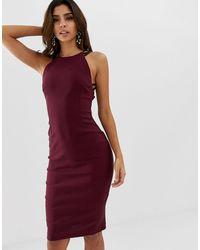 Vesper High Neck Bodycon Dress - Purple