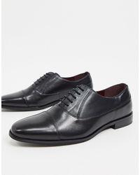 Walk London Черные Кожаные Туфли С Круглым Носком -черный