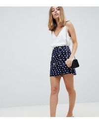 97866eeb2e1d ASOS - Asos Design Petite Double Breasted Mini Skirt In Spot - Lyst