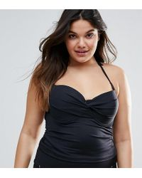 ASOS - Asos Design Curve Mix And Match Tankini Bikini Top With Eyelets - Lyst