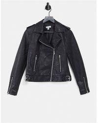 TOPSHOP Classic Faux-leather Biker Jacket - Black