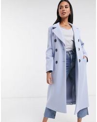 River Island Double Breasted Tailored Coat - Blue