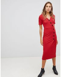 New Look Rib Button Through Dress - Red
