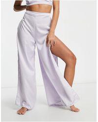 ASOS - Pantaloni eleganti con fondo ampio lilla - Lyst