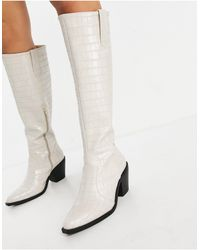Glamorous Knee High Western Boots - Natural