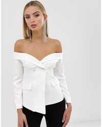 Lavish Alice Off The Shoulder Fitted Blazer With Sports Stripe - White