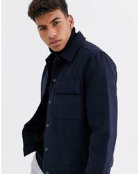 New Look - Veste en imitation laine - Bleu marine - Lyst