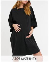 ASOS Черное Платье-футболка В Стиле Oversized - Черный