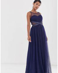 Little Mistress Mesh Upper Embellished Waist Detail Skater Maxi Dress - Blue