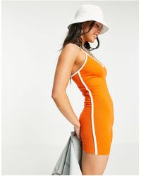 Bershka Jersey Contrast Piping Playsuit - Orange