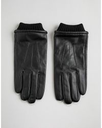 Barneys Originals Barneys Leather Gloves With Cuff Detail - Black