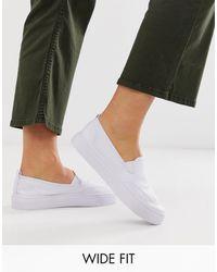 ASOS Wide Fit Dexter Slip On Plimsolls - White