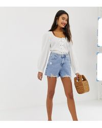 New Look - Mom Shorts With Rips In Denim - Lyst