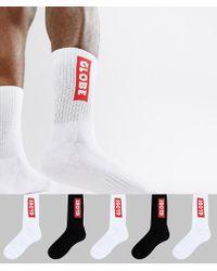 Globe - Logo Socks In Black And White 5 Pack - Lyst