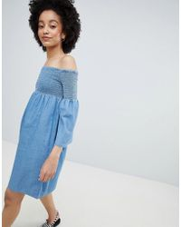 ONLY - Denim Smock Dress - Lyst