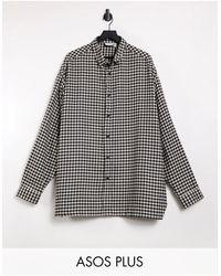 ASOS Plus Super Oversized Check Shirt - Black