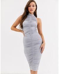 AX Paris - Серебристые Платье Мини Со Сборками -серебряный - Lyst