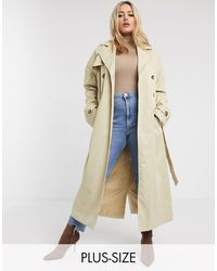 Missguided Missgudied Plus Trench Coat - Natural