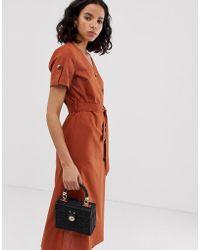 ONLY Button Detail Safari Linen Midi Dress - Brown