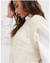 Object Cropped Knitted Vest - Natural