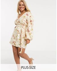 Skylar Rose Plus Wrap Dress With Balloon Sleeves - Natural