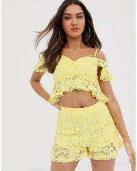 Love Triangle Bardot Ruffle Lace Crop Top Co-ord - Yellow