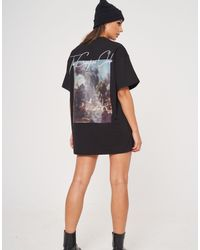 The Couture Club Oversized T-shirt Dress With Graphic Print - Black