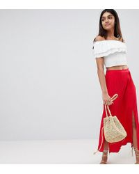 ASOS - Asos Design Tall Crinkle Midi Skirt With Buttons And Double Split - Lyst