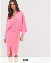 Flounce London Kimono Midi Dress - Pink