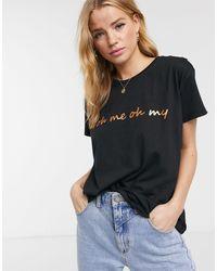 Blend She Camiseta negra con eslogan Oh Me - Negro