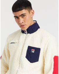 Fila Token - Sweat-shirt zippé en sherpa - Blanc