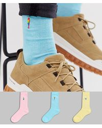 ASOS - 3 Pack Tropical Bird Ankle Sock With Twist Yarn Save - Lyst
