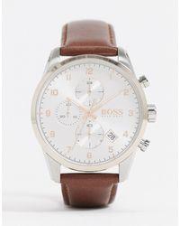BOSS 1513786 - Leren Horloge - Bruin