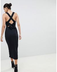 Fashion Union - Ribbed Midi Dress With Tie Back Detail - Lyst