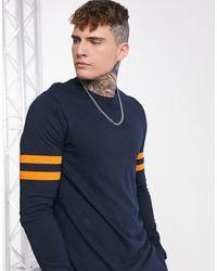 ASOS Organic Long Sleeve T-shirt With Sleeve Stripe - Blue