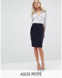 ASOS Asos Design Petite High Waisted Pencil Skirt - Blue