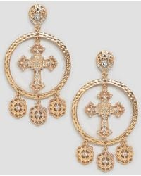 Boohoo - Chunky Cross And Coin Earrings In Gold - Lyst