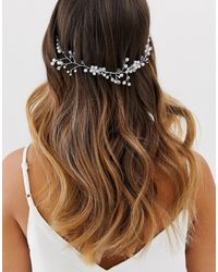 ASOS Back Hair Crown With Crystal Vine Detail In Silver Tone - Metallic