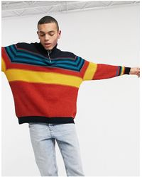 ASOS Knitted Half Zip Sweater With Color Block Design - Multicolor