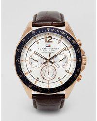 Tommy Hilfiger Luke 1791118 - Montre bracelet cuir - Marron
