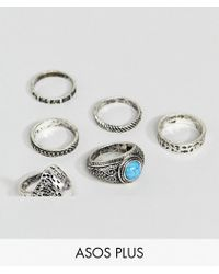ASOS - Plus Chunky Ring Pack With Eagle And Stones In Burnished Silver - Lyst