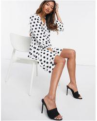River Island Polka Dot Wrap Mini Dress - White