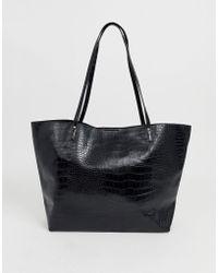 ASOS Croc Bonded Shopper Bag - Black