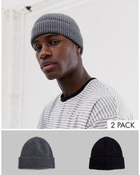 ASOS Confezione da 2 berretti stile pescatore grigio e nero in poliestere riciclato - RISPARMIA - Multicolore