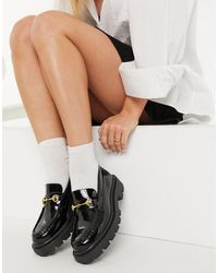 SELECTED Femme Patent Loafers With Gold Hardware - Black