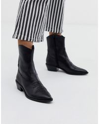 Bershka - Western Leather Ankle Boot In Black - Lyst