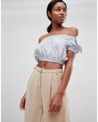 Love - Stripe Bardot Tie Sleeve Crop Top - Lyst