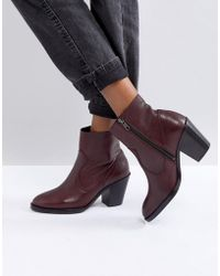 Office - Angie Burgundy Heeled Ankle Boots - Lyst